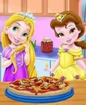 Baby Rachel and Ella Cooking Pizza